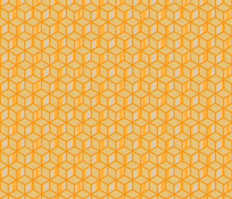 Geometric Pattern: Cube Stripe: Orange fabric by red_wolf on Spoonflower - custom fabric