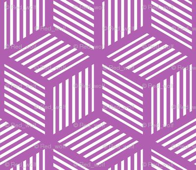 Geometric Pattern: Cube Stripe: Purple