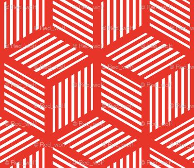 Geometric Pattern: Cube Stripe: Red