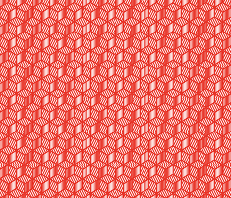 Geometric Pattern: Cube Stripe: Red fabric by red_wolf on Spoonflower - custom fabric