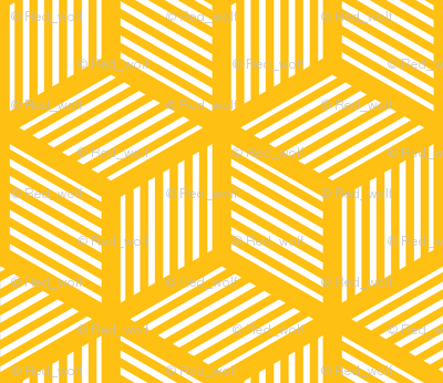 Geometric Pattern: Cube Stripe: Yellow