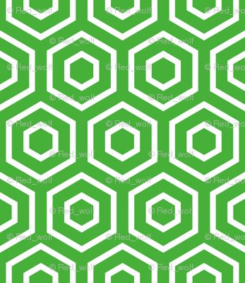 Geometric Pattern: Hexagon Ring: Green