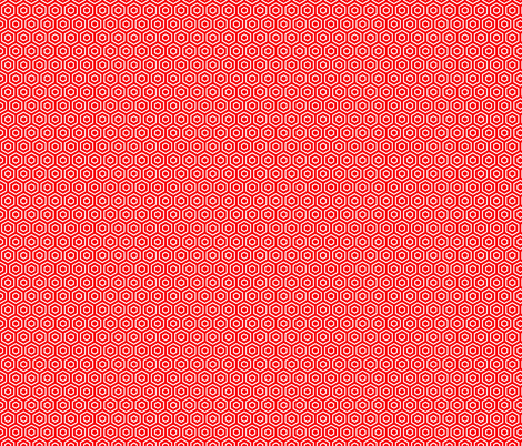 Geometric Pattern: Hexagon Ring: Red fabric by red_wolf on Spoonflower - custom fabric