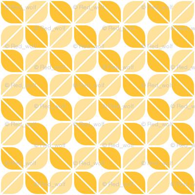 Geometric Pattern: Leaf: Yellow/White