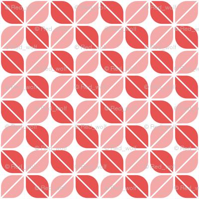 Geometric Pattern: Leaf: Red/White