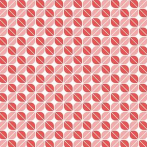Geometric Pattern: Leaf: Red/White