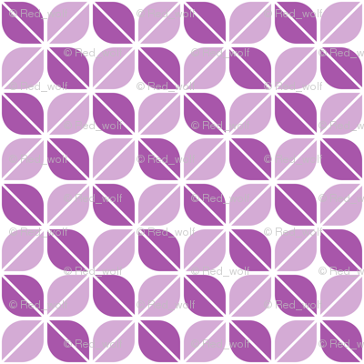 Geometric Pattern: Leaf: Purple/White