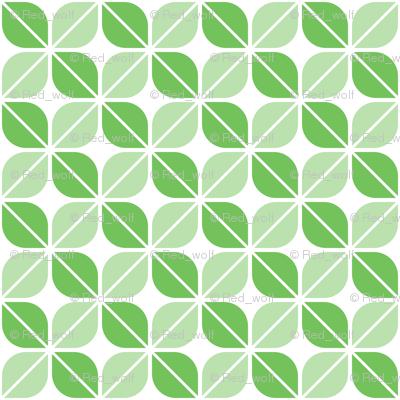 Geometric Pattern: Leaf: Green/White