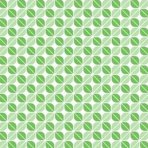 Geometric Pattern: Leaf: Green/White