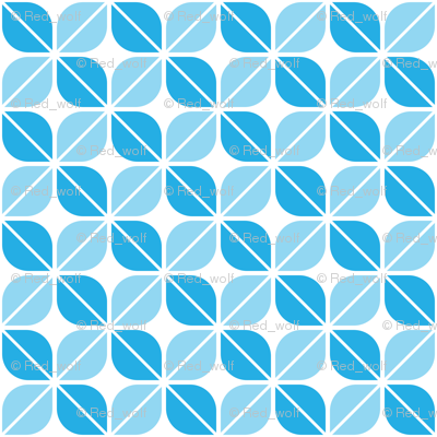 Geometric Pattern: Leaf: Blue/White