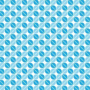 Geometric Pattern: Leaf: Blue/White
