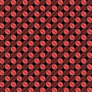 Geometric Pattern: Leaf: Red/Black