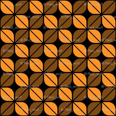Geometric Pattern: Leaf: Orange/Black