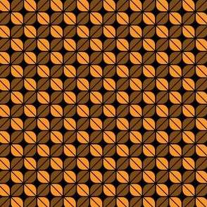 Geometric Pattern: Leaf: Orange/Black