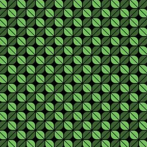 Geometric Pattern: Leaf: Green/Black