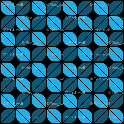 Geometric Pattern: Leaf: Blue/Black