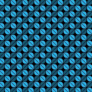 Geometric Pattern: Leaf: Blue/Black