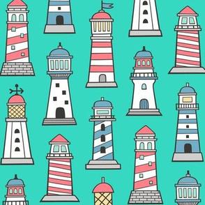 Lighthouses Nautical Sea Ocean Doodle On Green