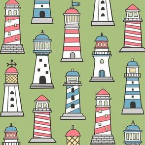 Lighthouses Nautical Sea Ocean Doodle On Moss Green