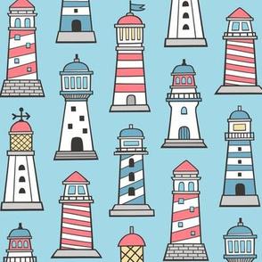 Lighthouses Nautical Sea Ocean Doodle On Light Blue