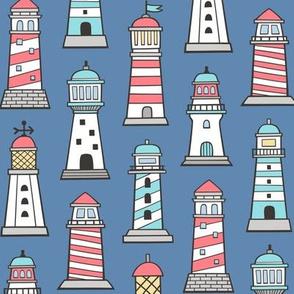Lighthouses Nautical Sea Ocean Doodle On Navy Blue