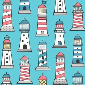 Lighthouses Nautical Sea Ocean Doodle On Blue