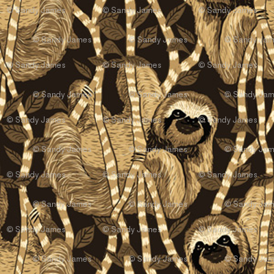 sloth cloth sepia 2x2