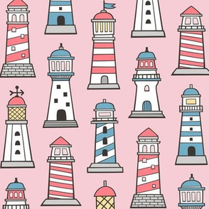 Lighthouses Nautical Sea Ocean Doodle On Pink