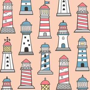 Lighthouses Nautical Sea Ocean Doodle On Peach