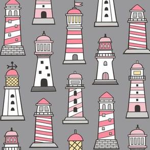 Lighthouses Nautical Sea Ocean Doodle Pink On Grey