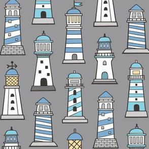 Lighthouses Nautical Sea Ocean Doodle Blue On Grey