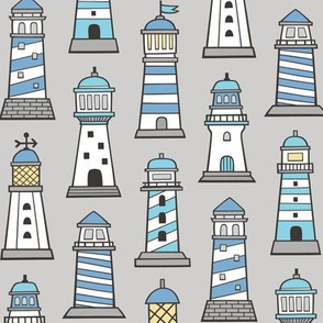 Lighthouses Nautical Sea Ocean Doodle Blue On Light Grey