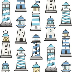 Lighthouses Nautical Sea Ocean Doodle Blue On White
