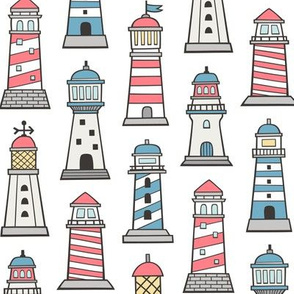 Lighthouses Nautical Sea Ocean Doodle
