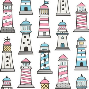 Lighthouses Nautical Sea Ocean Doodle Pink Blue on White