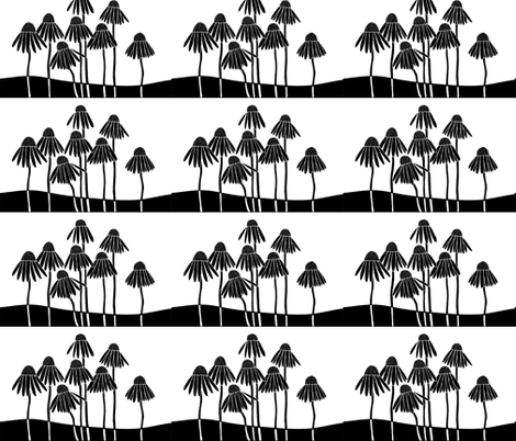 Healing Garden, black and white fabric by moon_house on Spoonflower - custom fabric