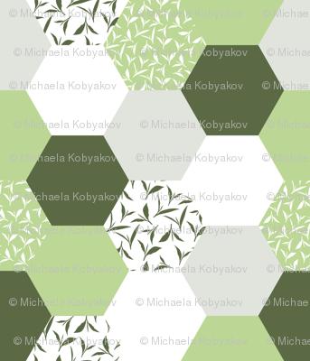 tea leaf hexagons - green