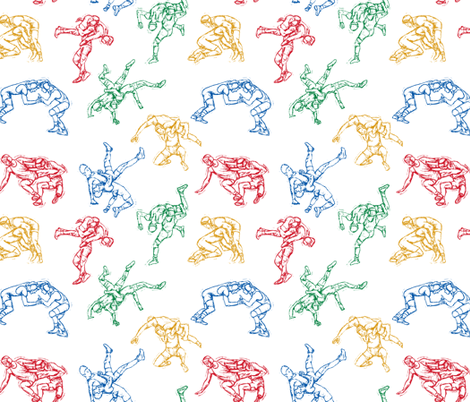 Wrestling Sketches 4 color on Black fabric by #artbykarridi on Spoonflower - custom fabric