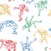 Wrestling Sketches 4 color on Black