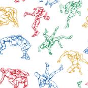 Wrestling Sketches 4 color on Black