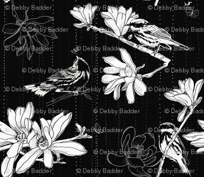 large scale black & white magnolias
