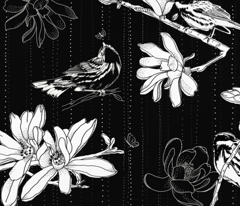 large scale black & white magnolias fabric by designed_by_debby on Spoonflower - custom fabric