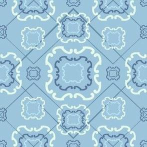 Diamond Floral Ribbon Periwinkle Blue