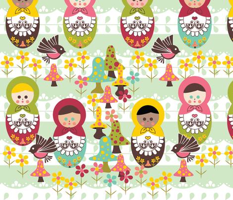 Unity Around The World - Scandinavian Art, Nesting Dolls, Mushrooms, Birds fabric by applebutterpattycake on Spoonflower - custom fabric
