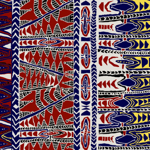 Samoa  Batik 42 wide x36 long - Rust Navy
