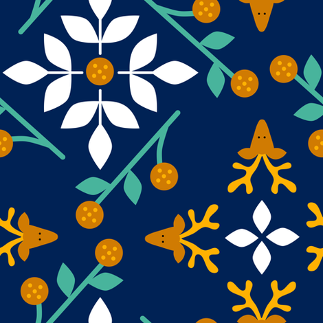 Scandi Florals and Reindeer fabric by amy_maccready on Spoonflower - custom fabric