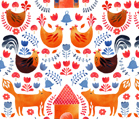 Fox amongst the chickens scandi style fabric by cat_hayward on Spoonflower - custom fabric