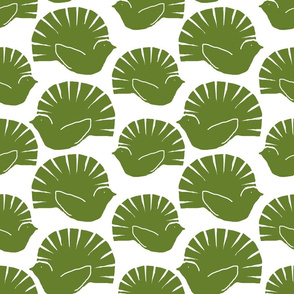 woodblock fantails green