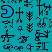 Shaman Symbols - 42 wide x45 long - Turquoise