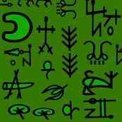 Shaman Symbols - 42x45x150 - Green
